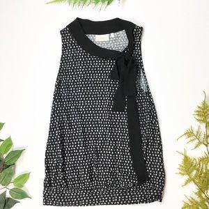 Anthropologie | Black white polka dot bow top XS
